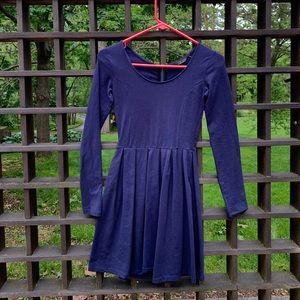 Navy Blue Longsleeve Pleated Dress